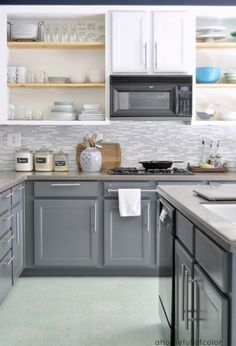 I think we could do this with our kitchen - I need to find out the paint color for the bottom cabinets.
