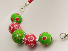 Ketten mittellang - Wechsel -Kette Erdbeer Apfel Polymer Clay Organza  - ein Designerstück von filigran-Design bei DaWanda