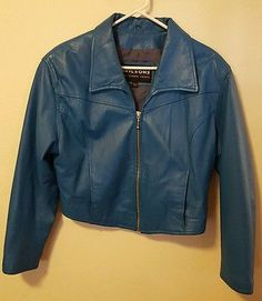 Wilsons Retro Blue Genuine Leather Cropped Motorcycle Jacket Size Large #B44