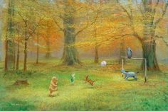Pooh Soccer by Peter Ellenshaw