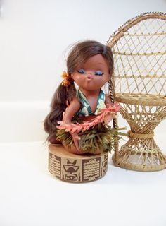Vintage Tiki Doll Hula Dancer Hawaii Music Box by umeone on Etsy, $35.00