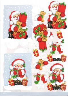 3 d santa Christmas China, 3d Christmas, Christmas Cards To Make, Christmas Images, Xmas Cards, Christmas Sheets, Christmas Topper, Snowman Clipart, Art Deco Cards
