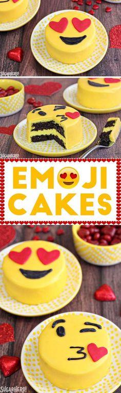 Emoji Cakes - mini chocolate cakes with emoji designs! | From SugarHero.com #cakedesigns
