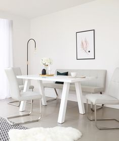 This faux leather dining chair and bench set combines the 6 seater white gloss Zen dining table with comfy, modern and sleek Finley dining bench and cantilever chairs. Browse this and more at Danetti online. Faux Leather Dining Chairs, Leather Bench, Dining Set, Dining Bench, White Gloss Dining Table, Cantilever Chair, Bench Set, Dining Furniture, Updo