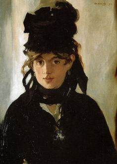 ''Berthe Morisot by Edouard Manet, 1872''. Manet, a famously charming and seductive character, cast a highly selective eye over Berthe's craggy features.