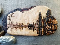 Lake Landscape Art/Original Woodburning Art/Rustic Decor/Shelf Art/Wilderness Art/Wood Home Decor/Artisan Crafted/Unique Gift/Live Edge Wood by SiltRiverArtistry on Etsy Wood Burning Crafts, Wood Burning Patterns, Wood Burning Art, Pyrography Designs, Pyrography Patterns, Fire Drawing, Burlap Gift Bags, Live Edge Wood, Driftwood Art