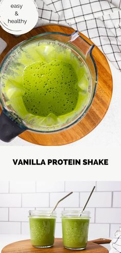 A vanilla protein shake is an easy way to get a nutritious meal in fast. It can provide everything you need— protein, healthy fats, vegetables, and fruits— all in one cup. And, even better, this vanilla protein powder recipe is also incredibly tasty thanks to the sweet peaches and the kick from the ginger. You're going to love this high protein smoothie. #proteinsmoothie #proteinshake #healthysmoothie #healthydrinkrecipe #helathyshake Clean Breakfast, Healthy Breakfast Recipes, Healthy Brunch, Breakfast For Dinner, High Protein Smoothies, High Protein Snacks, Good Healthy Recipes, Healthy Fats, Real Food Recipes