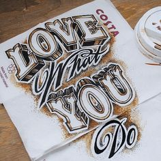 Coffee and ink napkin drawing by Rob Draper - Beautiful Hand Lettering