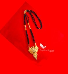 ME60, Daphne Handmade Golden Mangalsutra Necklace With Black Beads , Gift for Wife - Full View