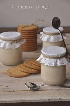 Yogur de galletas {Forma tradicional} Kombucha, Sour Cream, Ice Cream, Cocina Natural, Mousse, Creme, Recipies, Food And Drink, Sweets