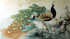 Chinese Peacock Peahen Painting,96cm x 170cm,2352031-x