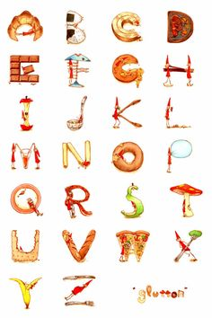 Sweet your tooth. Food Alphabet, Alphabet Writing, Typography Alphabet, Alphabet Design, Alphabet Art, Calligraphy Alphabet, Alphabet And Numbers, Letter Art, Graphic Design Typography
