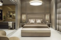 Nights in champagne satin: the bedroom merge into one seamless space dedicated to rest and relaxation.
