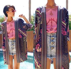 Vintage Oversized Sunnies, Vintage Floral Open Tunic, Vintage & Diy Acid Wash Shorts, Thrifted & Diy Mesh Floral Dress Into Shirt