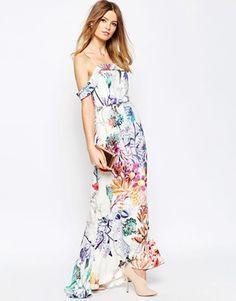 Vestido largo encolado con estampado floral y cuello bardot de ASOS WEDDING