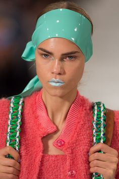 At Maison Margiela, models walked with varying shades of blue glitter lips created by makeup artist Pat McGrath and her team.