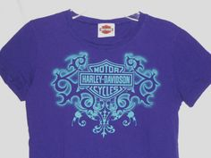 HARLEY-DAVIDSON Junior/Women T-Shirt Size M Medium Purple Teal Design -Colorado #HarleyDavidson #GraphicTee -  stores.ebay.com/vickysclothingandmore