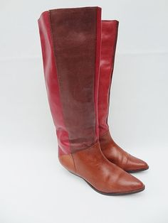 Womens Vintage Leather Boots Four Colors Pink by RainbowRetro, $65.00
