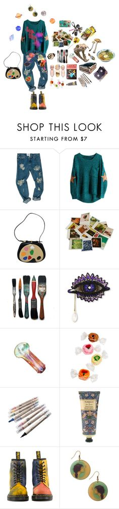 """""""Turpentine and Oil Paints"""" by biinarystar ❤ liked on Polyvore featuring Moschino, Chronicle Books, Forest of Chintz, William Morris and Dr. Martens"""