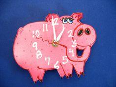 New to PondScumCeramics on Etsy: Kid's Clock Baby Clock  Clay Pig Wall  Clock for Children Baby Nursery DecorAnimal Clock (28.00 USD)