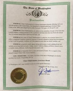 """WASHINGTON - """"Proclamation for September'15 as Chiari Malformation Awareness Month"""" Special thanks to Governor Jay Inslee."""