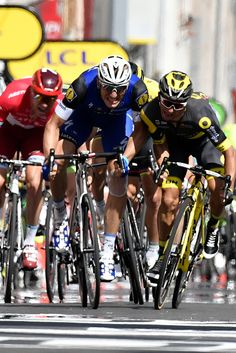 #TDF2016 Germany's Marcel Kittel sprints to win ahead of France's Bryan Coquard during the 2375 km fouth stage of the 103rd edition of the Tour de France...