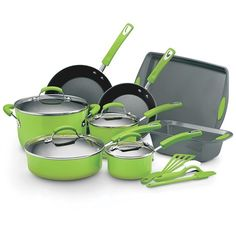 Rachel Ray 15pc Cookware Set - Green I bought this exact set but in Dark Blue.. $99.99 at #Burlington Coat-factory  I Absolutely love it, Nothing sticks, but best of all I don't need to fumble threw a drawer looking for the Pot holders, there's no need .. The rubber overlay is perfect and doesn't heat up at all... The other piece I use a lot is the mini spatula, I use it for cooking everything from scrambled eggs to sautéed vegetables ,  this set is a must have ...