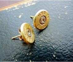 Bullet Stud Earrings - They are made from genuine Smith & Wesson bullet casings that were fired at gun ranges.