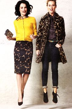 Boden - Love the yellow sweater with black and brown skirt. Outfit has an elegant 60's look.