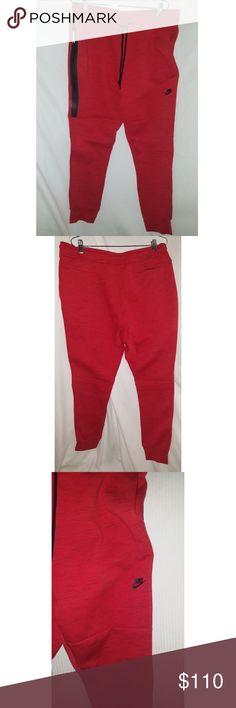 Nike tech fleece mens joggers As shown , lightweight fleece red joggers with black specks. Nike Pants Sweatpants & Joggers