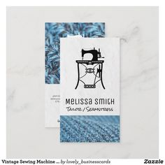 Vintage Sewing Machine   Seamstress   Tailor Business Card