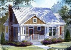 open floor plan w/ porch down and sleep porch up! Small Cottage House Plans, Small Cottage Homes, Southern Living House Plans, Lake House Plans, Country House Plans, Best House Plans, House Floor Plans, Small Cottages, Guest Cottage Plans