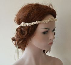 Rustic Wedding Headband Lace and Pearl  Headband by ADbrdal