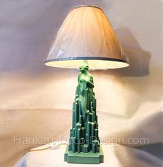 Frankart Spirit of Modernism art deco table lamp in green, recast in the Stamped Frankart on the base. Art Deco Table Lamps, Art Deco Decor, Art Deco Design, Replacement Glass Shades, Green Lamp, Stock Art, Light Shades, Modern Art, Modernism