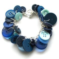 Blue Button Bracelet by beadingshaz on Etsy, £9.50