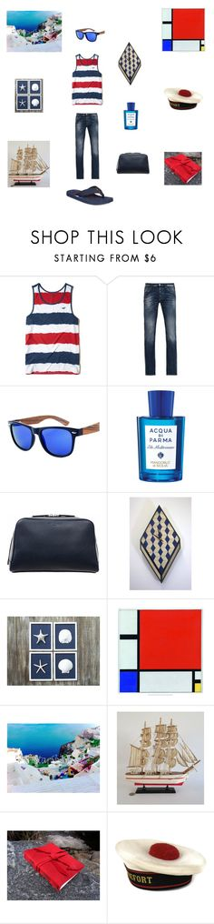 """Red White Blue for him"" by einder ❤ liked on Polyvore featuring Hollister Co., Armani Jeans, Acqua di Parma, Dom Reilly, Barque, Tommy Hilfiger, men's fashion and menswear"