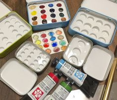TheSpeckledCat @ Etsy -  Pick your own paints to fill your own handmade travel paint tin. You choose your paint tin size and the number of paints for each tin.  Each paint