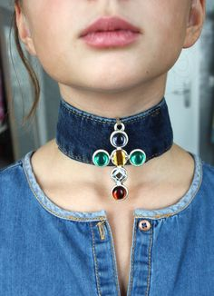 Jeans Choker / Denim choker / Recycled jeans necklace / Textile jewelry / Upcycled choker / Boho Jeans Choker / Blue Jeans Necklace https://www.etsy.com/shop/DadaAtelier