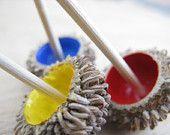 Three Oak Cupule Dreidel set - spinning tops - judaica for Hanukkah