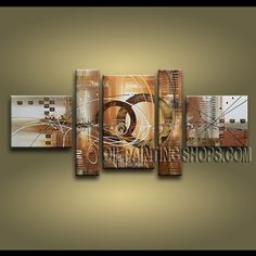 Huge Modern Abstract Painting Oil Painting On Canvas For Living Room Abstract. This 5 panels canvas wall art is hand painted by A.Qiang, instock - $235. To see more, visit OilPaintingShops.com