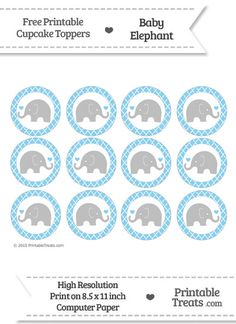 Free Baby Blue Moroccan Tile Baby Elephant Cupcake Toppers