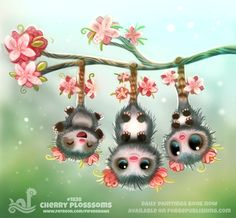 Daily Paint 1838# Cherry Plossums by Cryptid-Creations.deviantart.com on @DeviantArt
