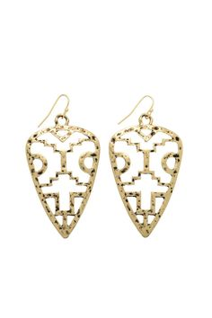 """Antiqued gold tone earrings with a tribal inspired cutout arrowhead. They are lead and nickol compliant. These earrings are an awesome way to rock the tribal look!    Dimensions:Fish hook style, approximately 2 1/2"""" in length and 1 1/2"""" at widest area   Gold Tribal Earrings by Mimi's Gift Gallery. Accessories - Jewelry - Earrings Kentucky"""
