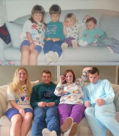 Then and now... family re enactment picture!! So doing this for my parents anniversary gift! Lol!