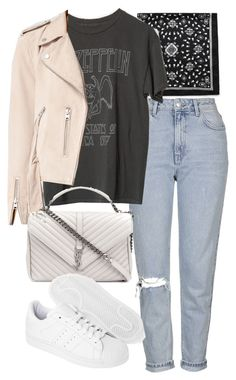 """Untitled #11194"" by minimalmanhattan ❤ liked on Polyvore featuring Topshop, AllSaints, Yves Saint Laurent and adidas Originals"