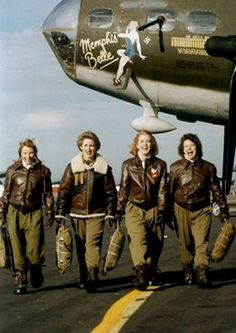 WASPs and The Memphis Belle, L-R: Rosann Patterson, Shelly Mulvaine, Peg Horton, and Mia Kosicki, At Lorian, Ohio airshow ~