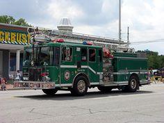 A green fire truck.