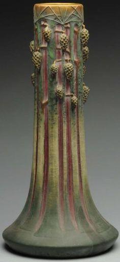 ◭ Penchant for Pottery ◮ Tall Paul Dachsel Pinecone Vase Antique Pottery, Roseville Pottery, Pottery Vase, Ceramic Pottery, Clay Vase, Ceramic Vase, Porcelain Vase, Blue Glass Vase, Glass Art