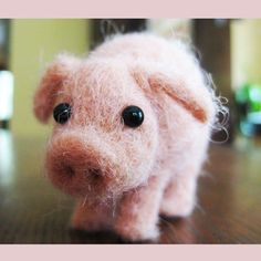 This little piggy needle felted animal fiber by TCMfeltDesigns