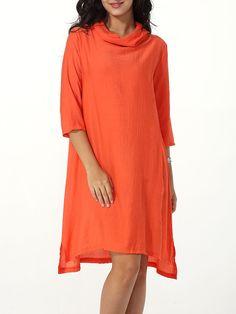 Hooded Asymmetrical Hem Plain Shift-dress Only $29.95 USD More info...